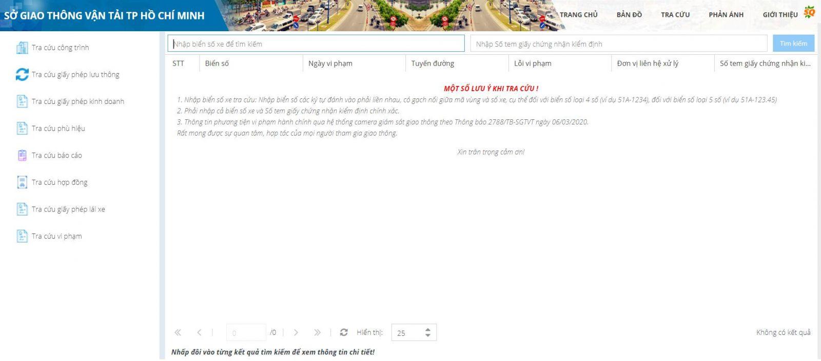 Kiểm tra trực tiếp trên website của Sở giao thông vận tải