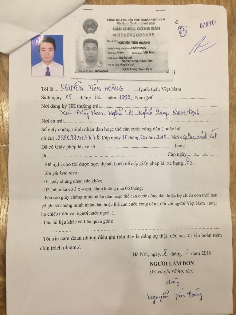 Hồ sơ đăng kí học lái xe B2